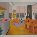 Interior with Fire Place - Image Size : 20x26 Inches