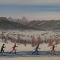 Cross Country Skiing - Image Size : 14x24 Inches